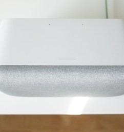 the touch sensitive part of the google home max is a gray strip  [ 1919 x 1080 Pixel ]