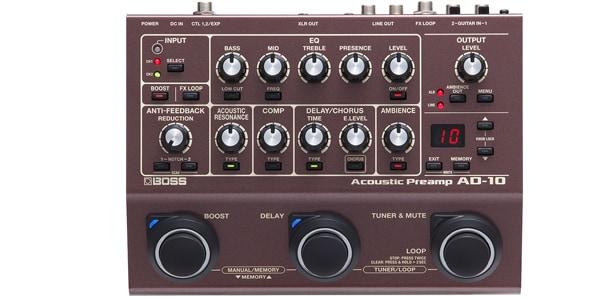 BOSS ( ボス ) / AD-10 Acoustic Preamp ディレイやコーラスに加え、コンプレッサー、ルーパーまで搭載 サウンドハウスで詳細を見る