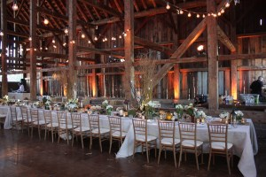 Dining Tables at Barn Wedding by Lake Almanor