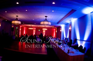 Uplighting for wedding reception at Scott's Seafood
