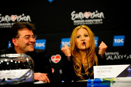 San Marino's entrant, Valentina Monetta at the Eurovision press conference with the d:screet SC4098 Podium Mic