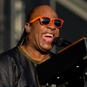 Stevie Wonder and his vocal microphone