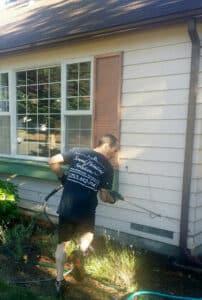 pressure washing on exterior paint job