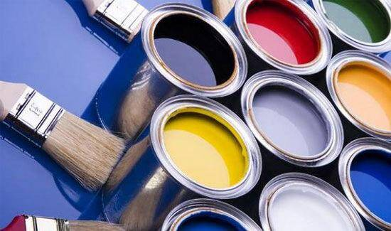 Paint cans in various colors