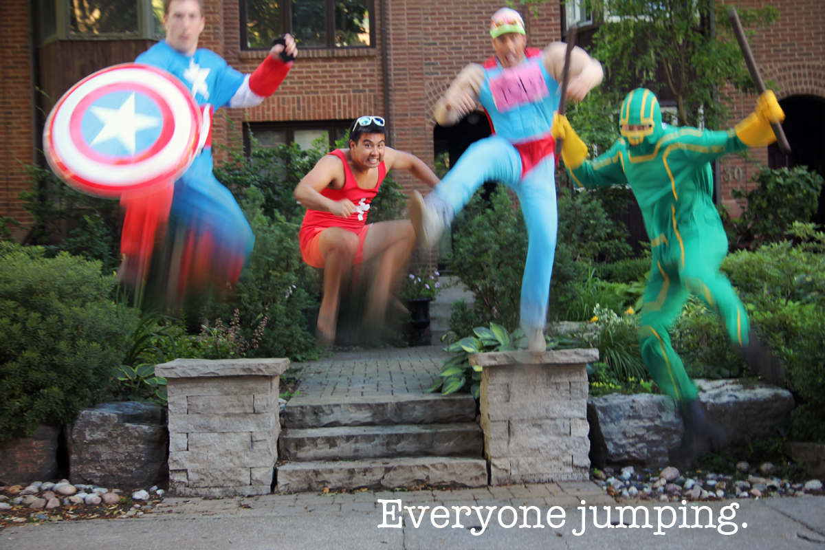 Super heroes jumping