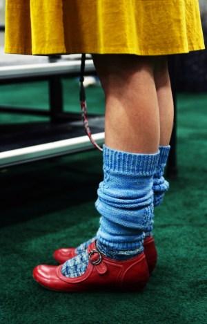 blue hand-knit socks at sock summit
