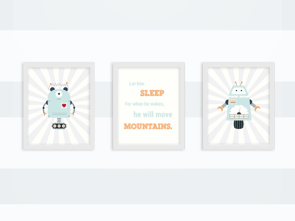 Robot prints for baby boys room