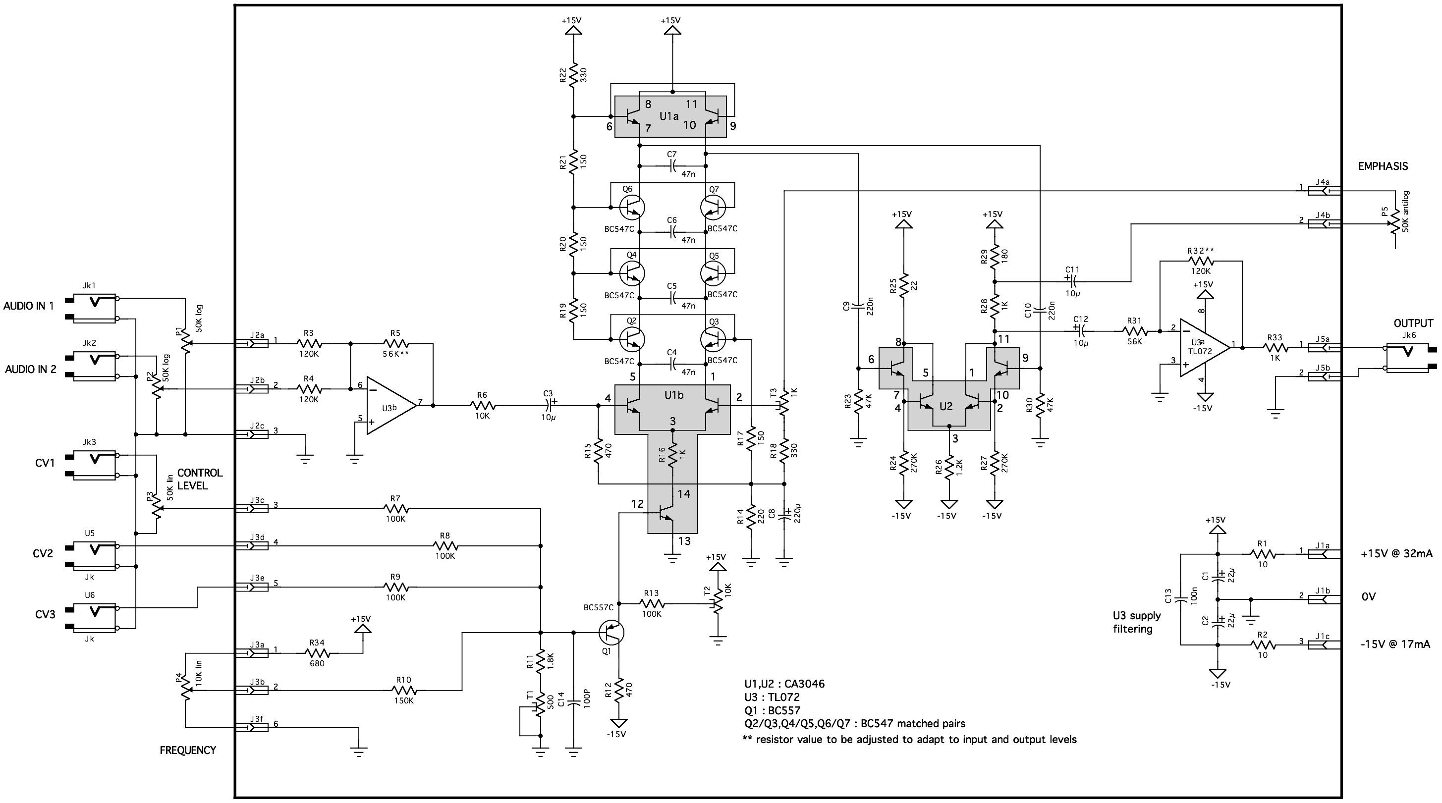 hight resolution of  yusynth minimoog vcf schematic