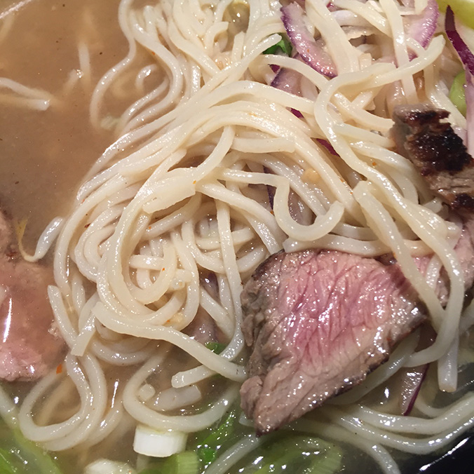 Noodles and Steak close up