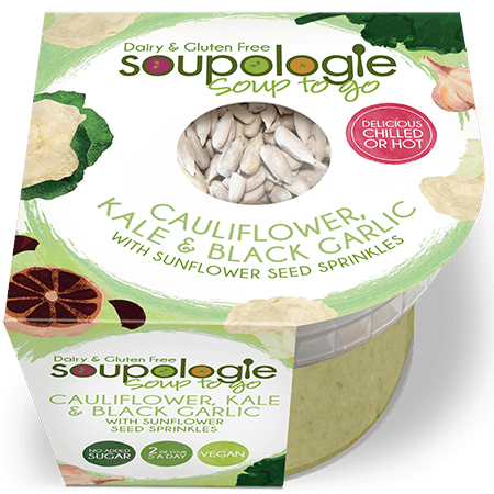 Try our delicious Cauliflower, Kale & Black Garlic Soup-to-go, with Sunflower Seeds!