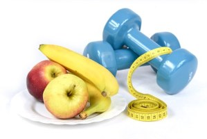 fruits and workout equipment
