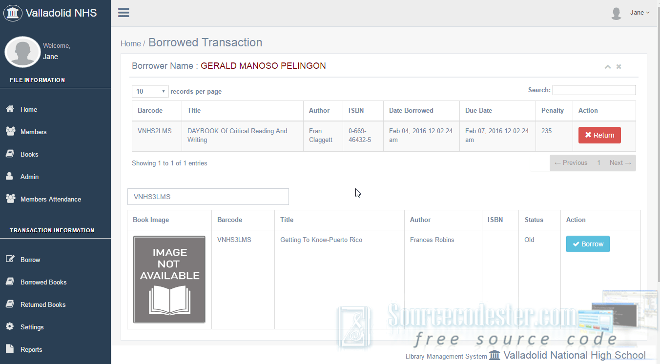 Library Management System With Barcode Free Source Code