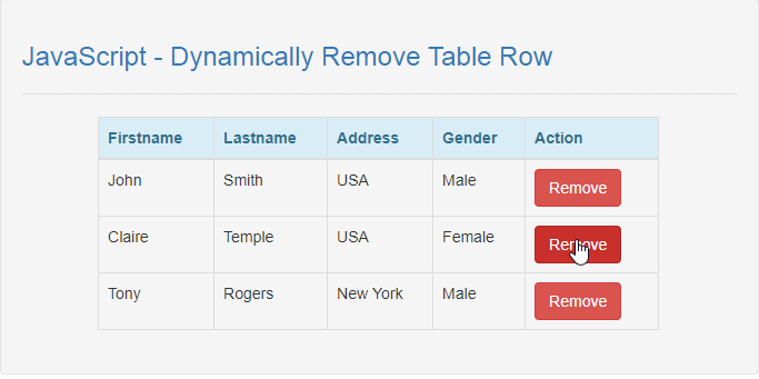 JavaScript - Dynamically Remove Table Row | Free Source Code & Tutorials