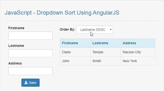 JavaScript - Dropdown Sort Using AngularJS | Free Source Code & Tutorials