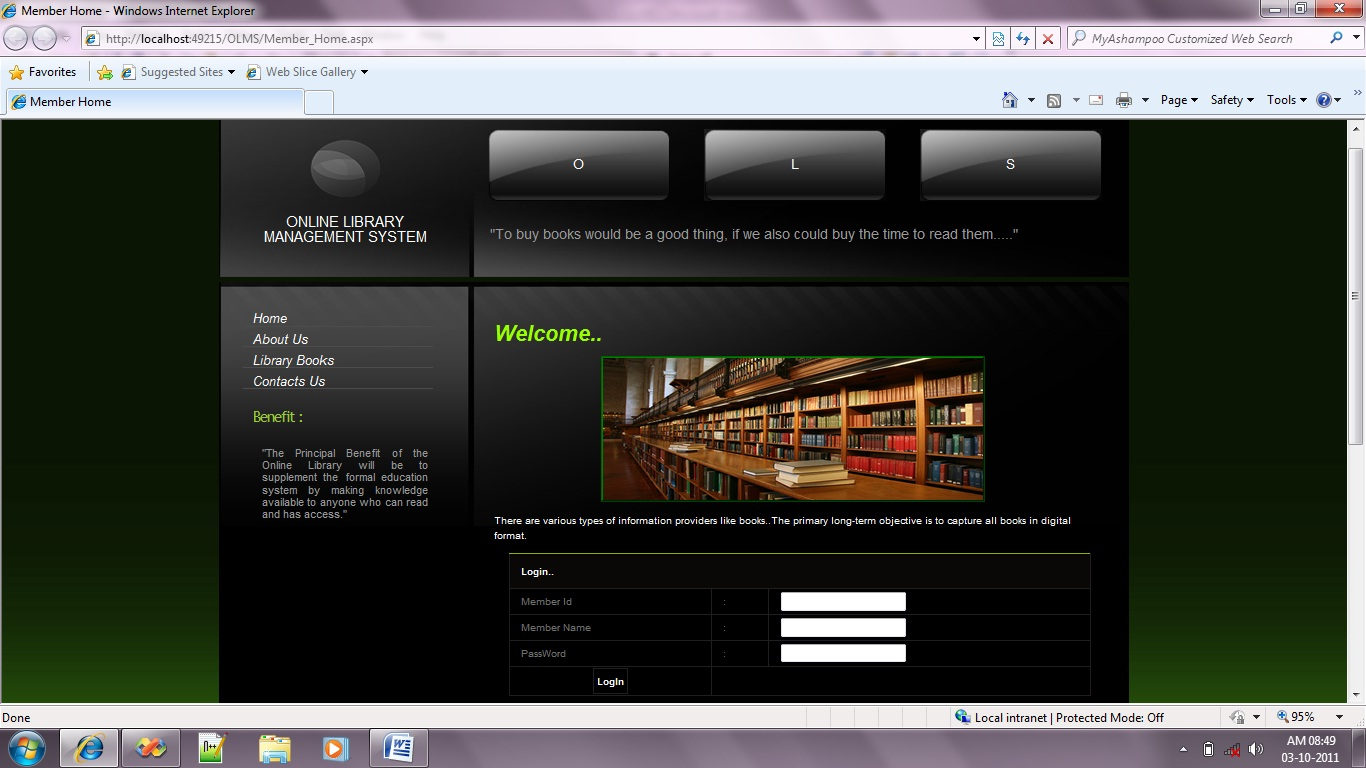 Online Library Management System OLMS Free Source Code