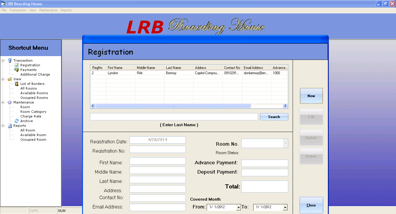LRB Boarding House Management And Billing System Free