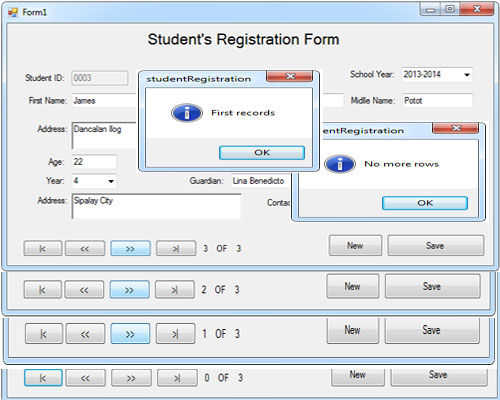 Navigation Of A Student Registration Form Free Source