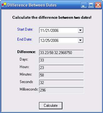 Calculate the Difference Between Two Dates Version 1.0 | Free Source Code. Projects & Tutorials