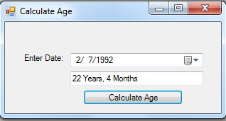 Age Calculator Using C# Free Source Code Tutorials And