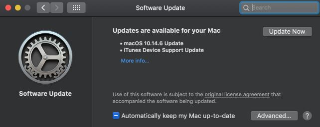 mac won't shut down software update
