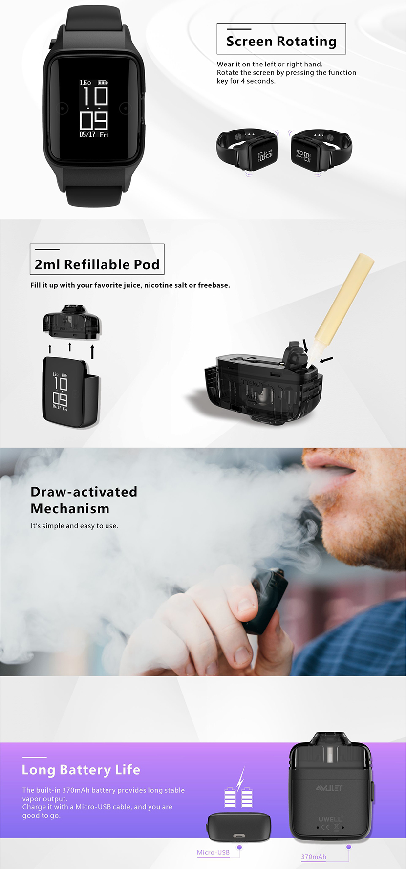 Uwell Amulet Pod System Features 02