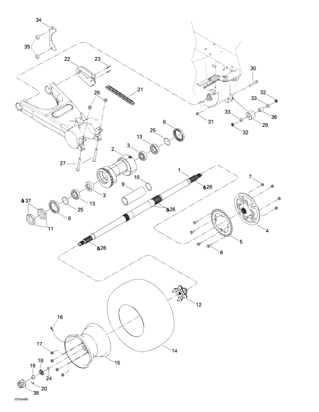 2004 Can-Am Rally 175 Drive System, Rear Parts