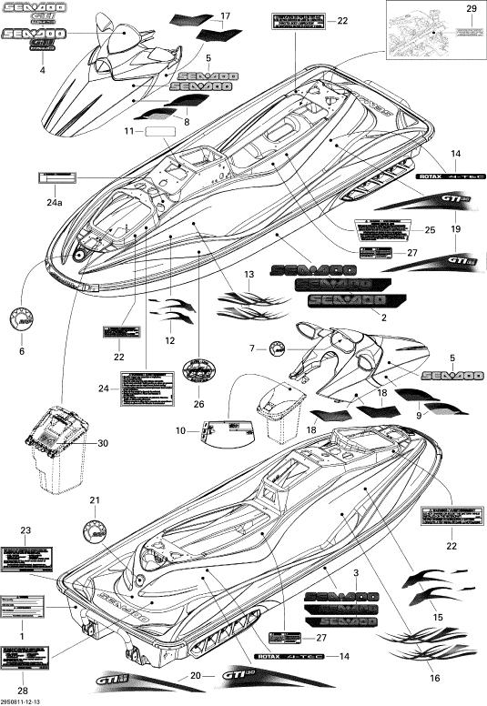 2008 Sea Doo GTI, GTI SE 130 Decals Parts