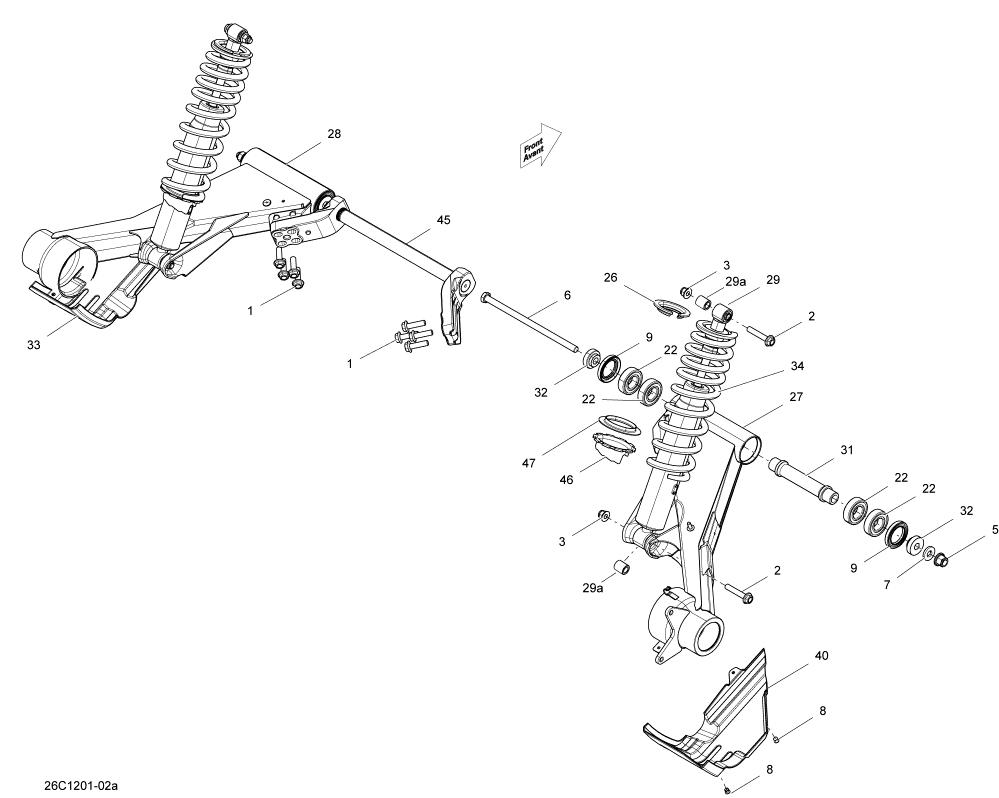 Can-Am 2012 Commander STD, XT, X 1000 EFI Rear Suspension