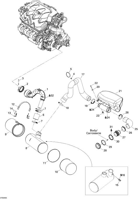2004 Sea Doo GTX, GTX 4-TEC Exhaust System Parts