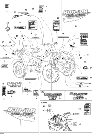 2008 Can-Am Outlander MAX 400 EFI STD Decals Parts