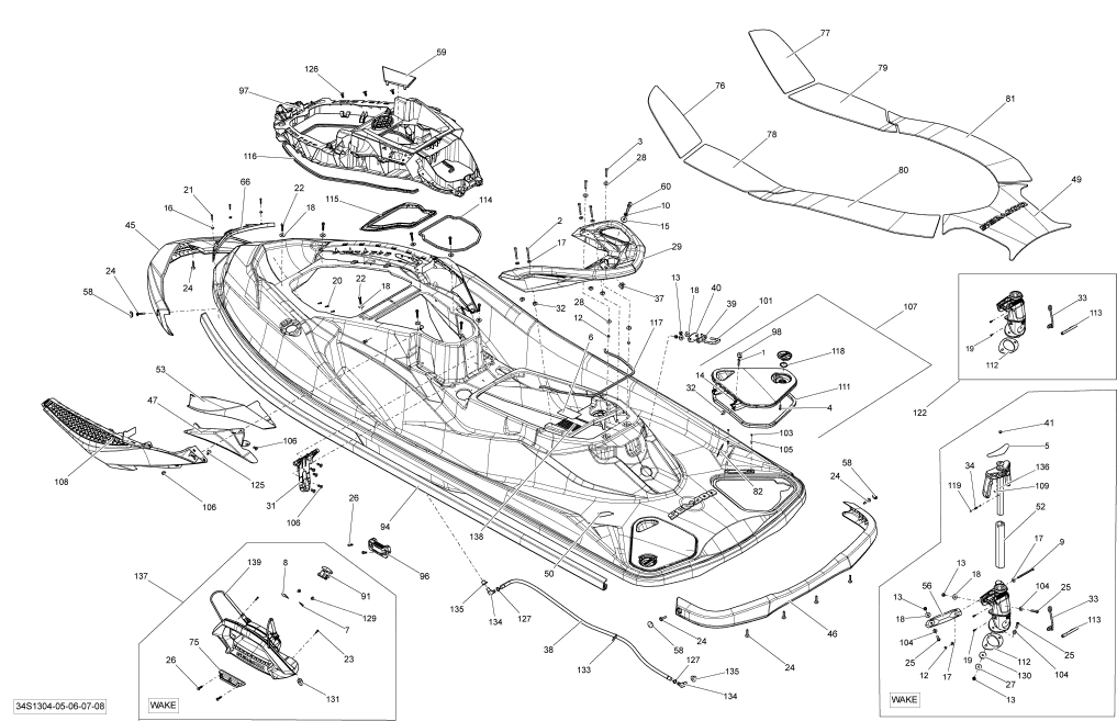 2013 Sea Doo RXT, RXT 260 & RS Body Parts