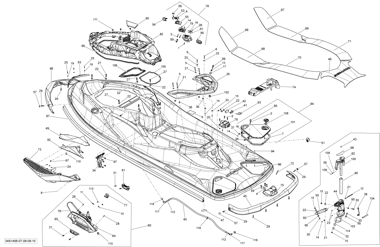 2014 Sea Doo RXT, RXT 260 & RS Body Parts