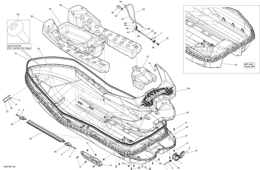 2014 Sea Doo SPARK ACE 900 HO (2up & 3up) Rear Deck