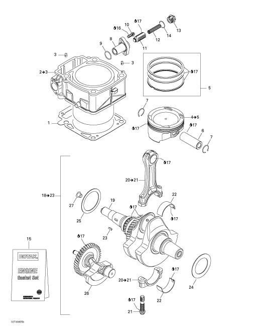 2004 Can-Am Quest XT Crankshaft and Cylinder Parts