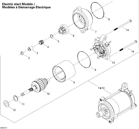 2006 Ski Doo Freestyle 300F Electric Starter Parts