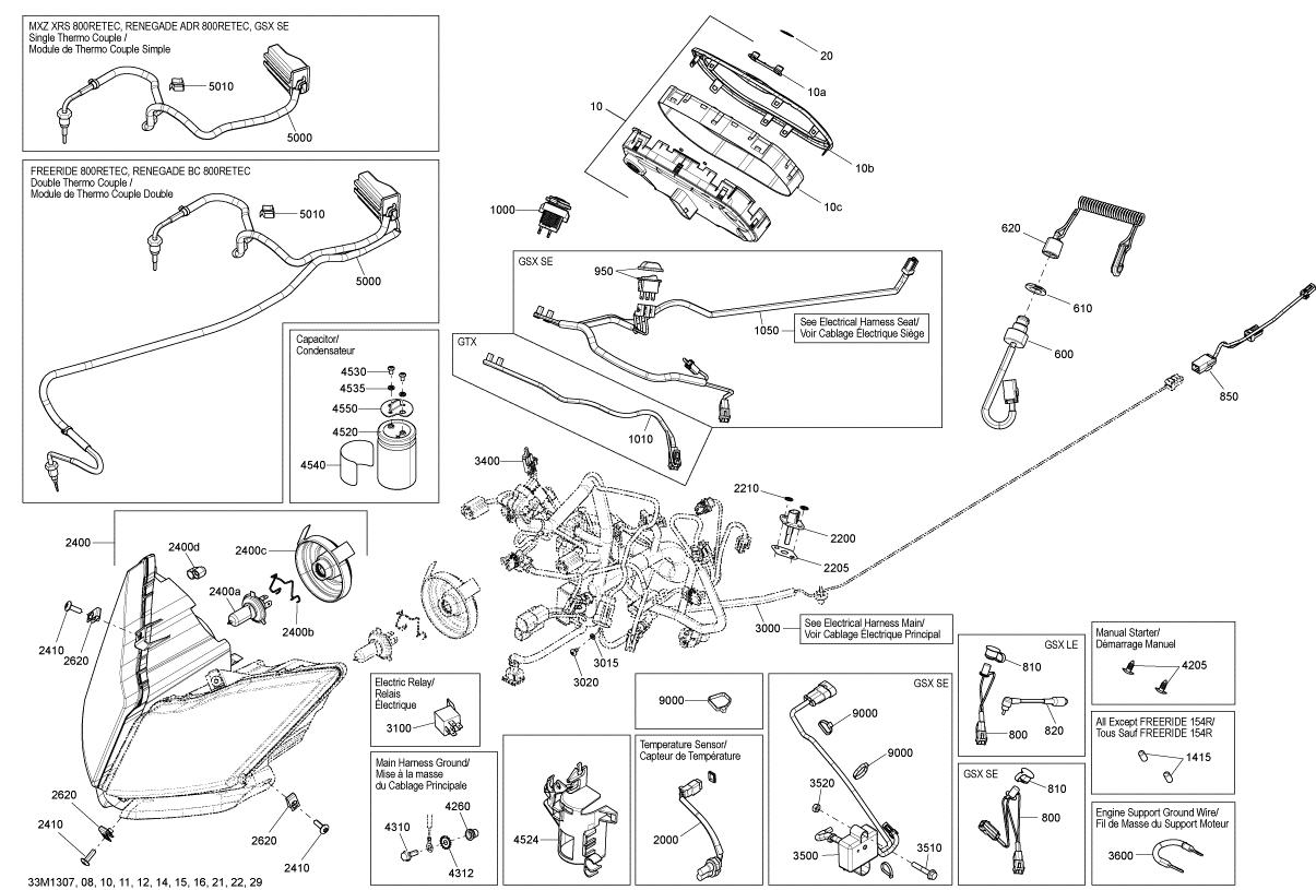 2013 Ski Doo Gsx Se 800Re Xr Manual Start Harness. Manual
