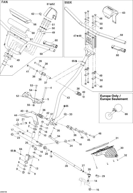 2007 Ski Doo MX-Z 550F Steering System FAN Parts