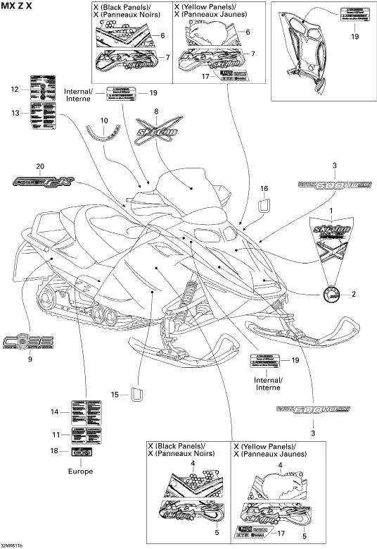 2005 Ski Doo MX-Z 600 HO SDI Adrenaline & X Decals X Parts