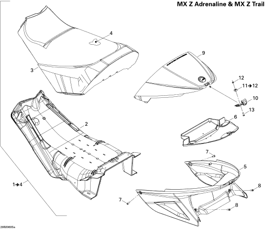 2006 Ski Doo MX-Z 800 HO Adrenaline & X Seat 800 Parts