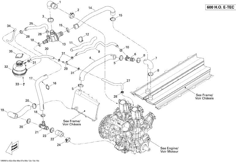 2009 Ski Doo MX-Z TNT 600 H.O. E-TEC Cooling System Parts