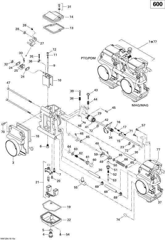 2012 Ski Doo MX-Z TNT & Sport 600 XP Carburetor Parts