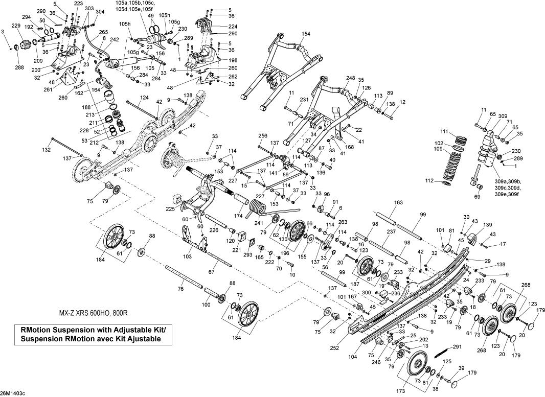 2014 Ski Doo MX-Z X-RS 800RETEC XS RS Rear Suspension
