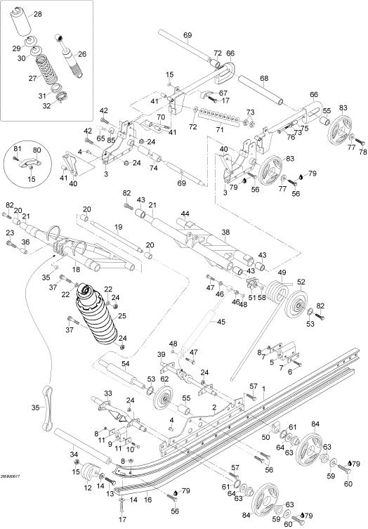 2004 Ski Doo Skandic LT 440F Rear Suspension Parts