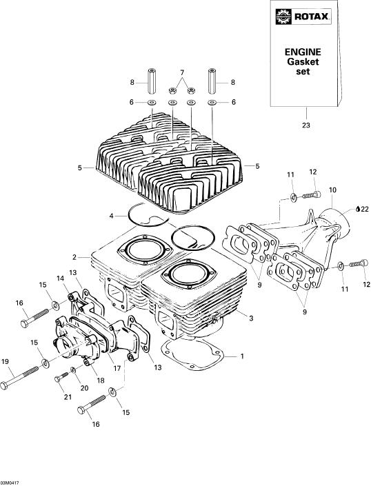 2004 Ski Doo Skandic LT 440F Cylinder, Exhaust Manifold Parts