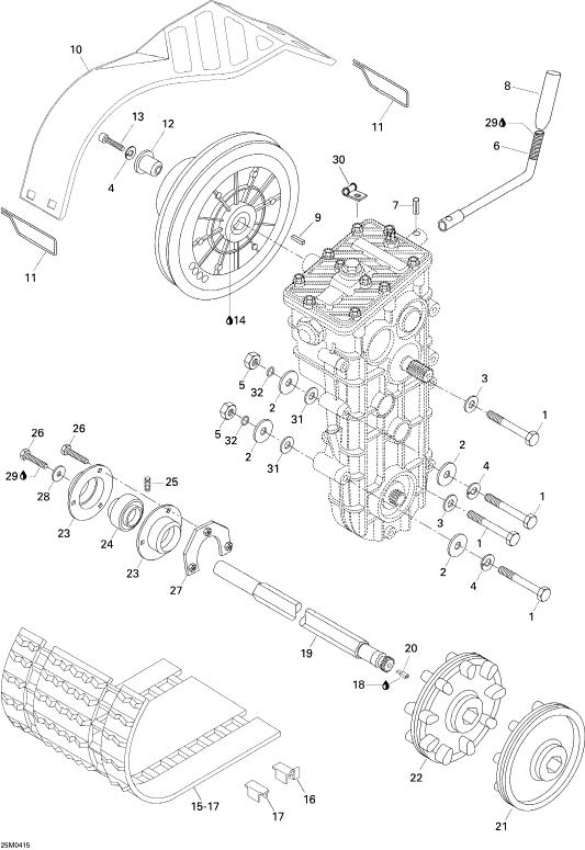 2004 Ski Doo Skandic SUV 600 Drive System Parts