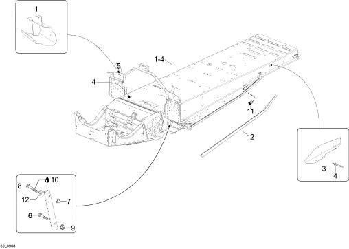 2009 Ski Doo Skandic SUV Frame Parts