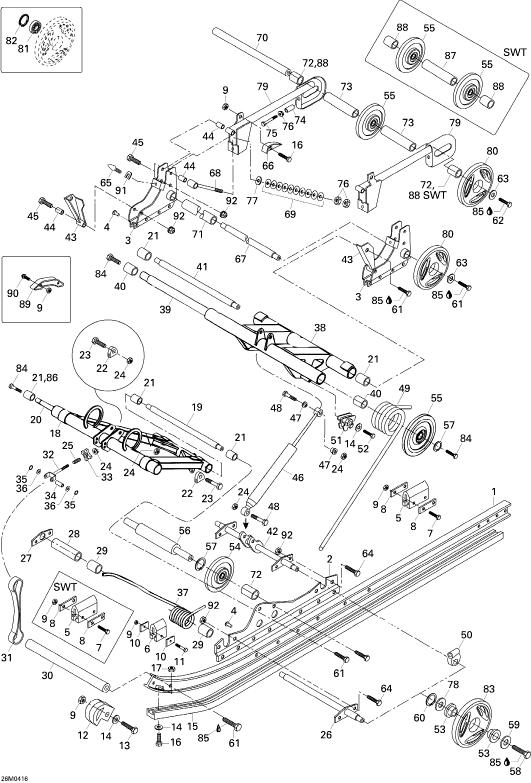 2004 Ski Doo Skandic WT/SWT 550F Rear Suspension Parts