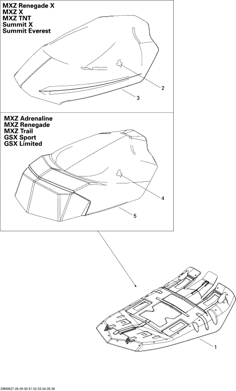 2008 Ski Doo Summit X 800R Seat Parts