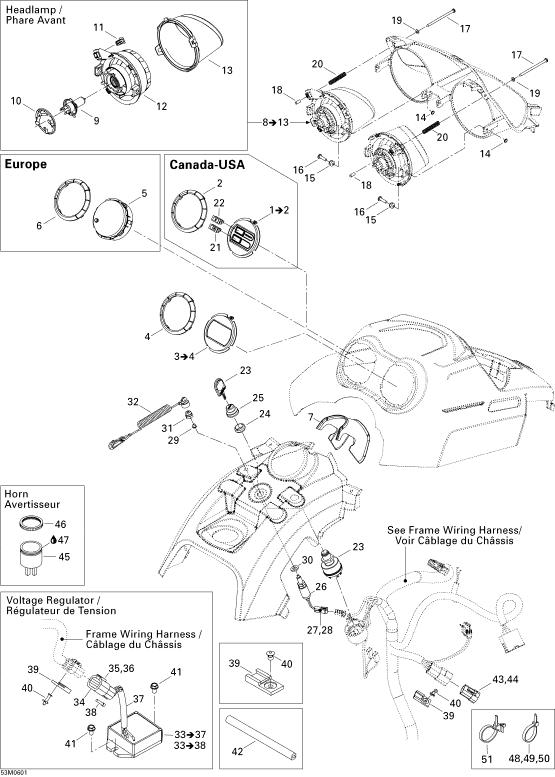 2006 Ski Doo Tundra 380F Lh Headlamp Assembly. Includes 8