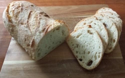 Semolina bread cut for tasting.